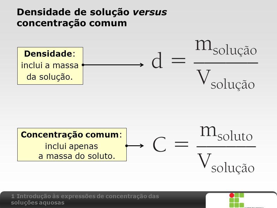 X SAIR Densidade de solução versus concentração comum Concentração comum: inclui apenas a massa do soluto. Densidade: inclui a massa da solução. 1 Int