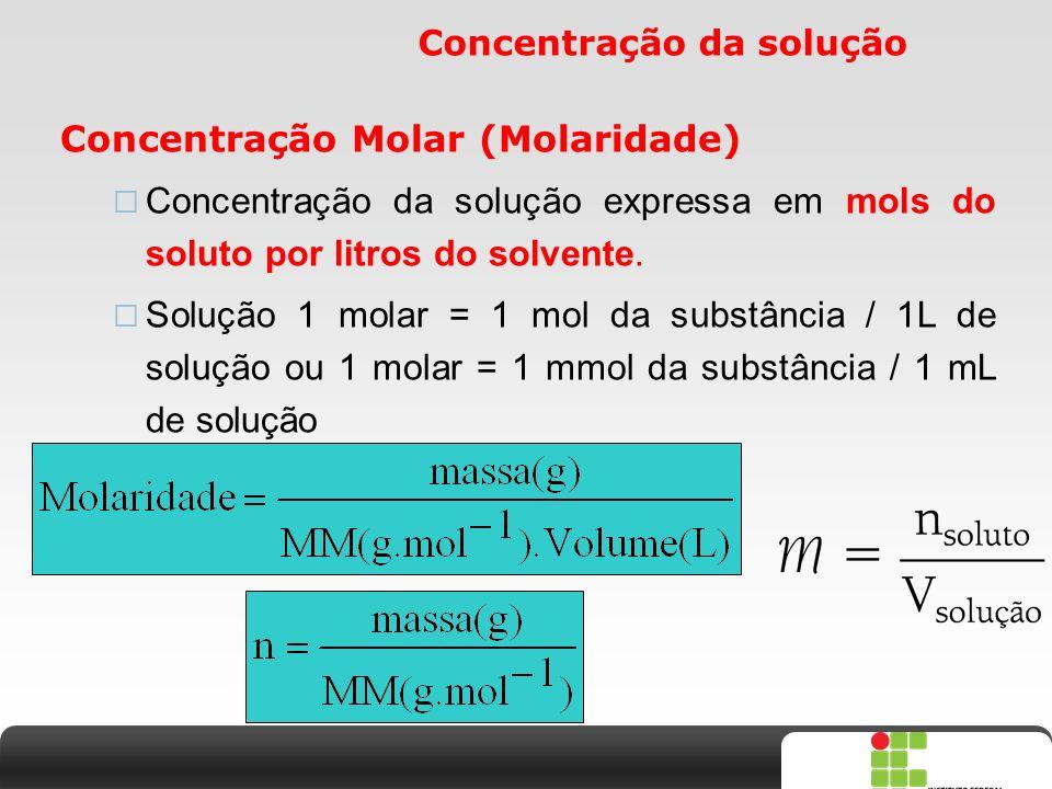 X SAIR Concentração da solução Concentração Molar (Molaridade)  Concentração da solução expressa em mols do soluto por litros do solvente.  Solução