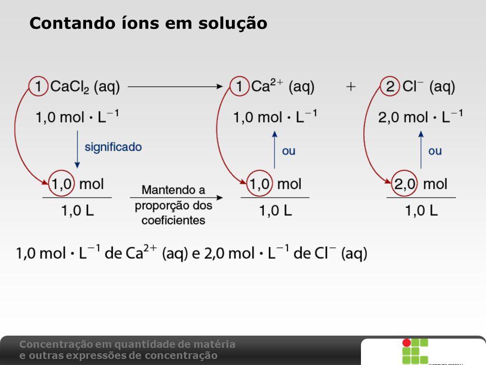 X SAIR Contando íons em solução Concentração em quantidade de matéria e outras expressões de concentração