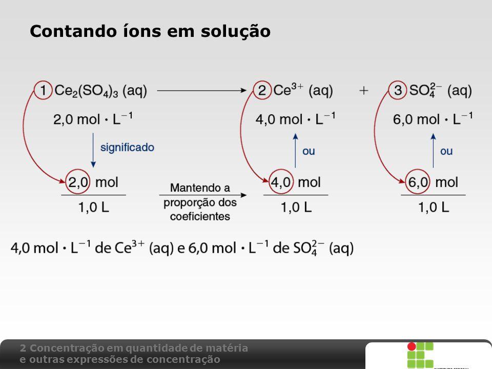 X SAIR Contando íons em solução 2 Concentração em quantidade de matéria e outras expressões de concentração