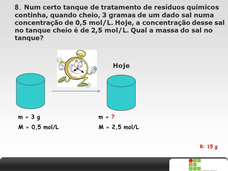 X SAIR 8. Num certo tanque de tratamento de resíduos químicos continha, quando cheio, 3 gramas de um dado sal numa concentração de 0,5 mol/L. Hoje, a