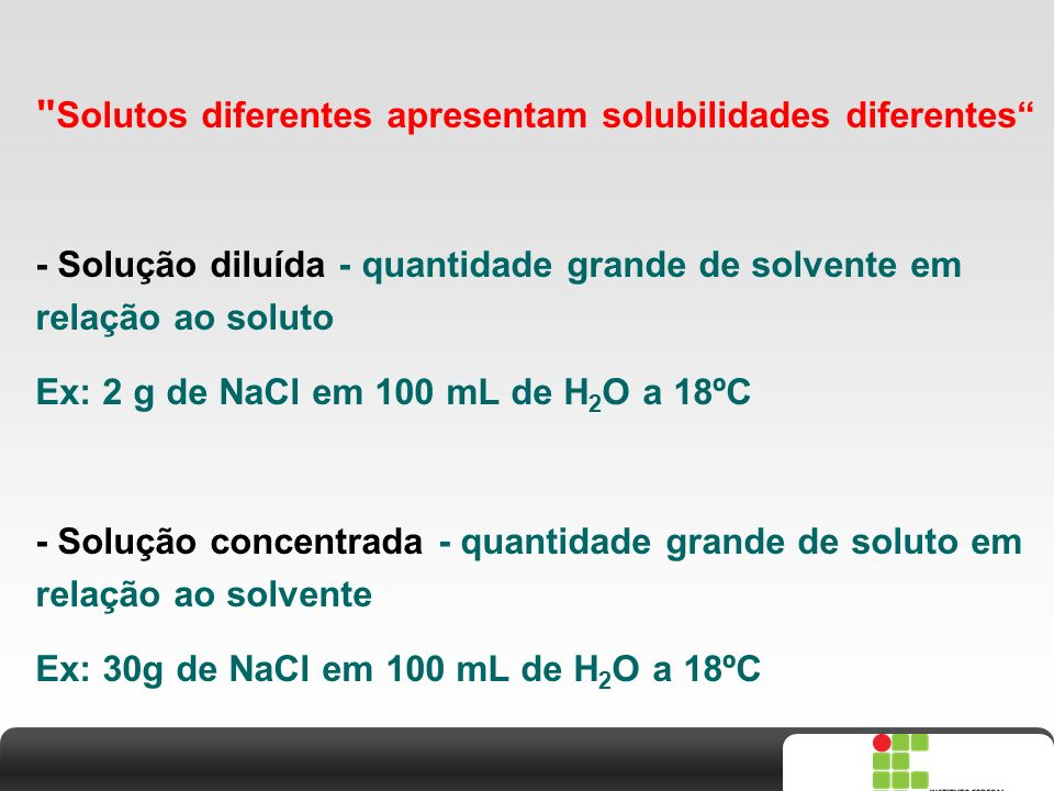 X SAIR Densidade  Densidade = massa da substância / volume  Unidades: (g/mL) ou (g/cm 3 ) ou (kg/L)  Expressões de resultados analíticos: Relação m/m Amostras sólidas Amostras líquidas Relação m/v % analito = massa (g) analito x 100 volume (mL) amostra Relação v/v % analito = volume (mL) analito x 100 volume (mL) amostra % analito = massa (g) analito x 100 massa (g) amostra