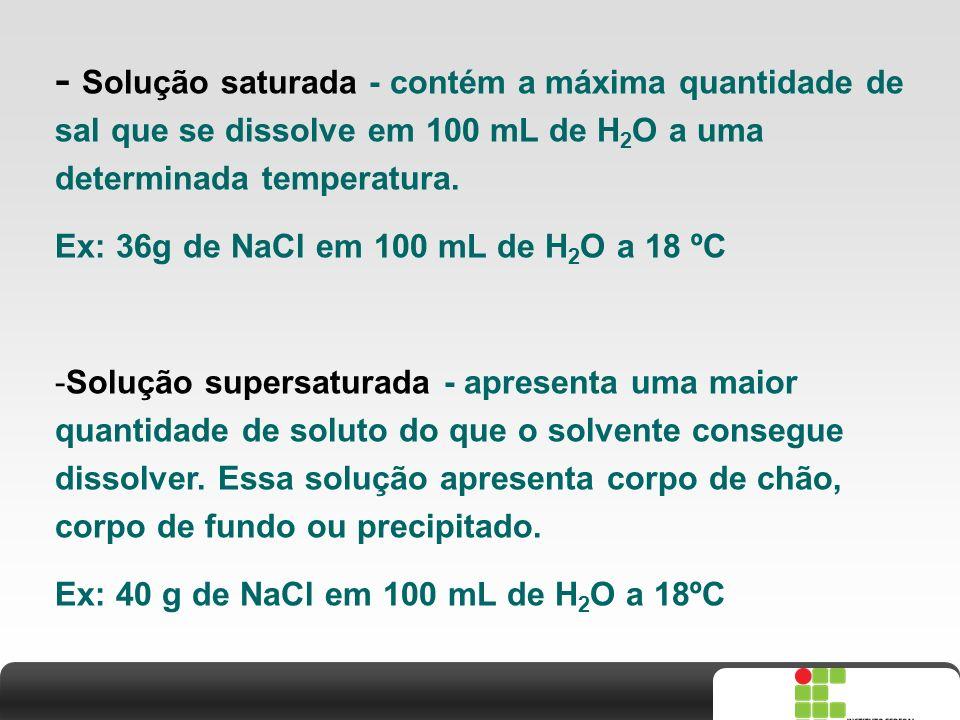 X SAIR - Solução saturada - contém a máxima quantidade de sal que se dissolve em 100 mL de H 2 O a uma determinada temperatura. Ex: 36g de NaCl em 100