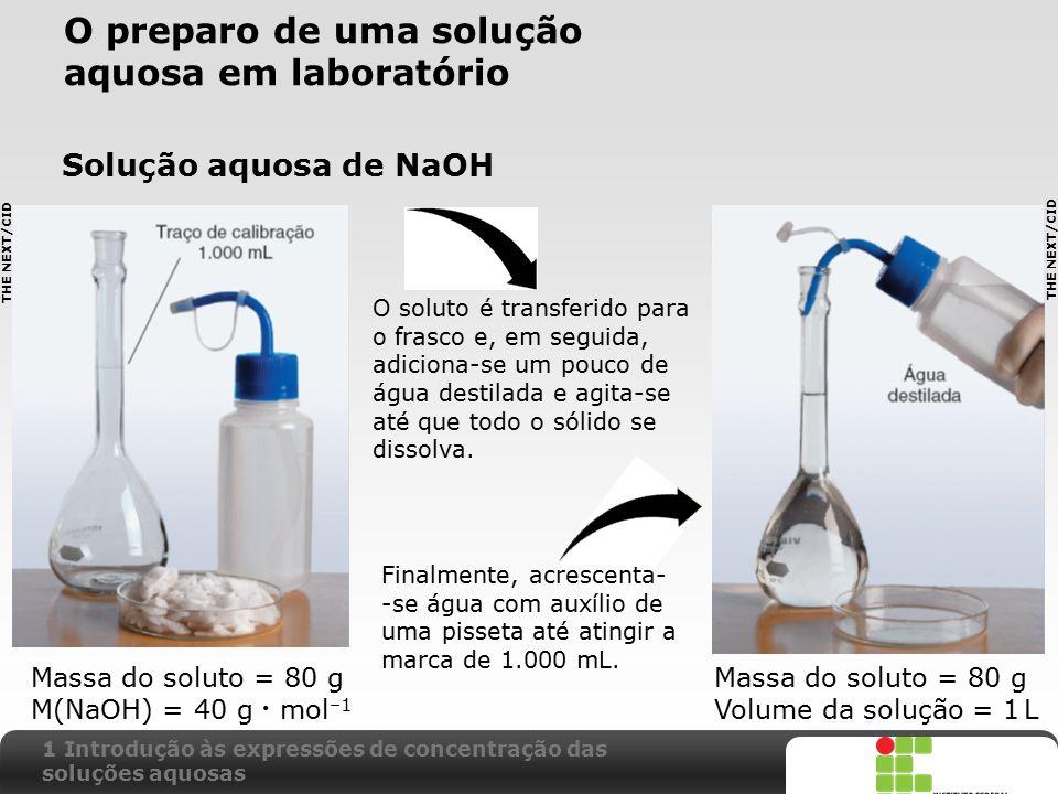 X SAIR O preparo de uma solução aquosa em laboratório Solução aquosa de NaOH Massa do soluto = 80 g M(NaOH) = 40 g mol –1 Massa do soluto = 80 g Volum