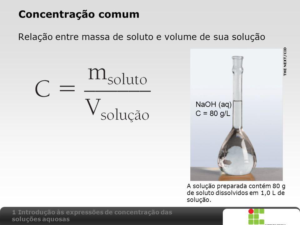 X SAIR Concentração comum Relação entre massa de soluto e volume de sua solução A solução preparada contém 80 g de soluto dissolvidos em 1,0 L de solu