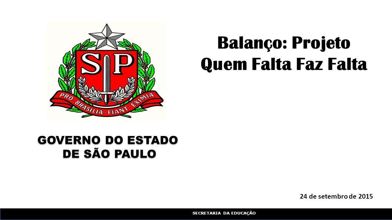 SECRETARIA DA EDUCAÇÃO 24 de setembro de 2015 Balanço: Projeto Quem Falta Faz Falta GOVERNO DO ESTADO DE SÃO PAULO GOVERNO DO ESTADO DE SÃO PAULO
