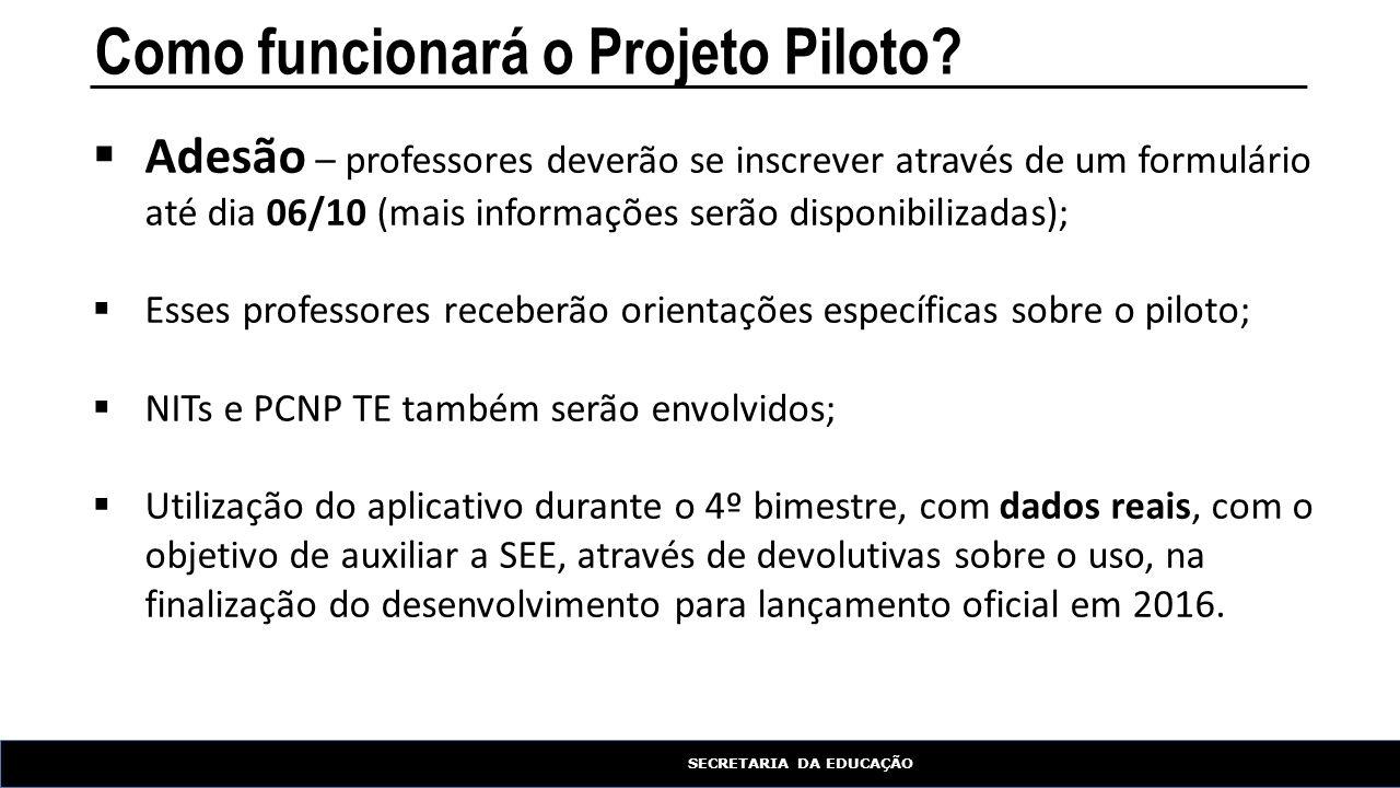 SECRETARIA DA EDUCAÇÃO Como funcionará o Projeto Piloto?  Adesão – professores deverão se inscrever através de um formulário até dia 06/10 (mais info
