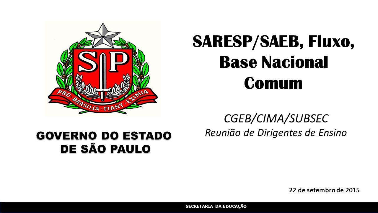SECRETARIA DA EDUCAÇÃO 22 de setembro de 2015 SARESP/SAEB, Fluxo, Base Nacional Comum GOVERNO DO ESTADO DE SÃO PAULO GOVERNO DO ESTADO DE SÃO PAULO CGEB/CIMA/SUBSEC Reunião de Dirigentes de Ensino
