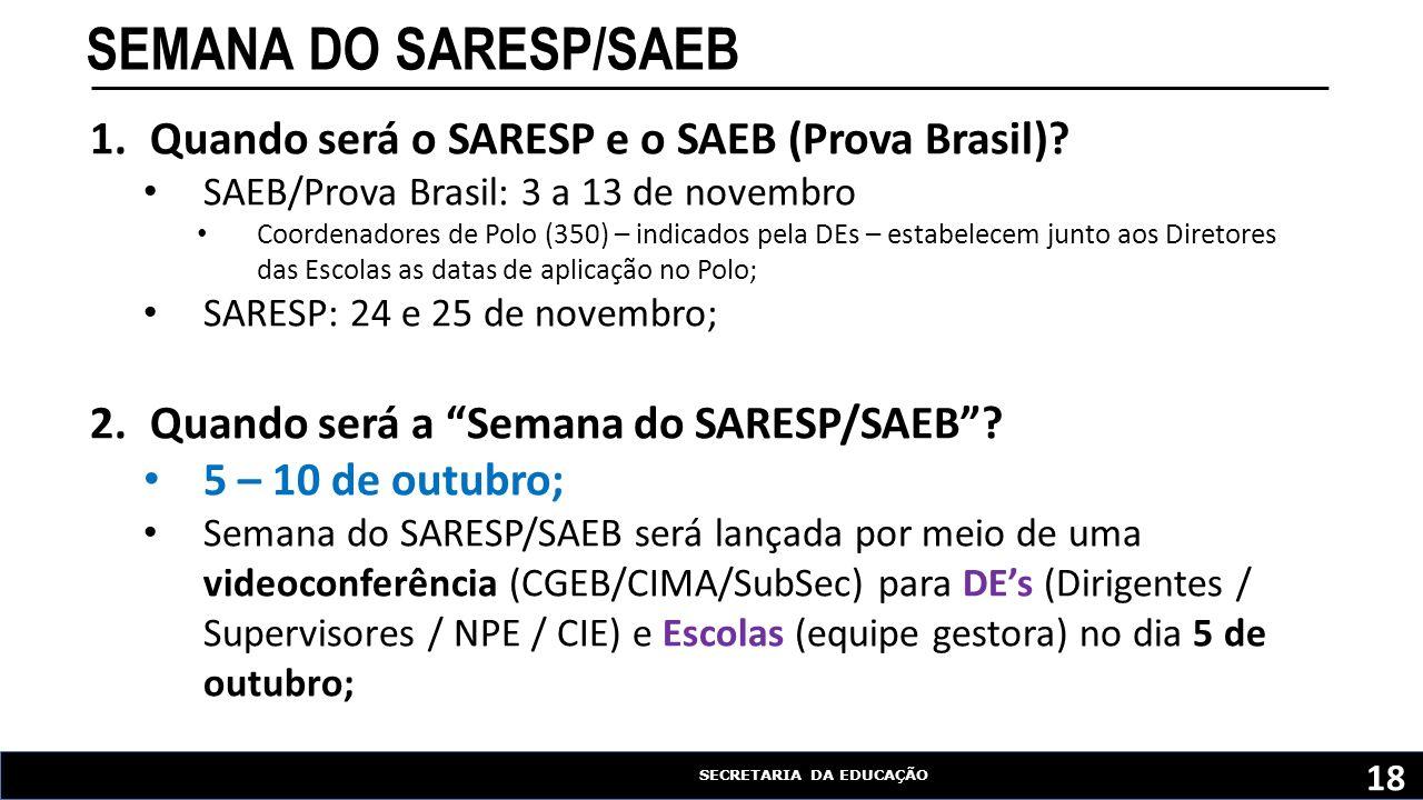 SECRETARIA DA EDUCAÇÃO SEMANA DO SARESP/SAEB 18 1.Quando será o SARESP e o SAEB (Prova Brasil).