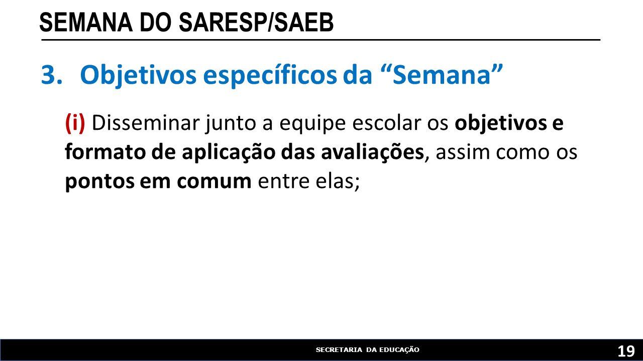 """SECRETARIA DA EDUCAÇÃO SEMANA DO SARESP/SAEB 19 3.Objetivos específicos da """"Semana"""" (i) Disseminar junto a equipe escolar os objetivos e formato de ap"""