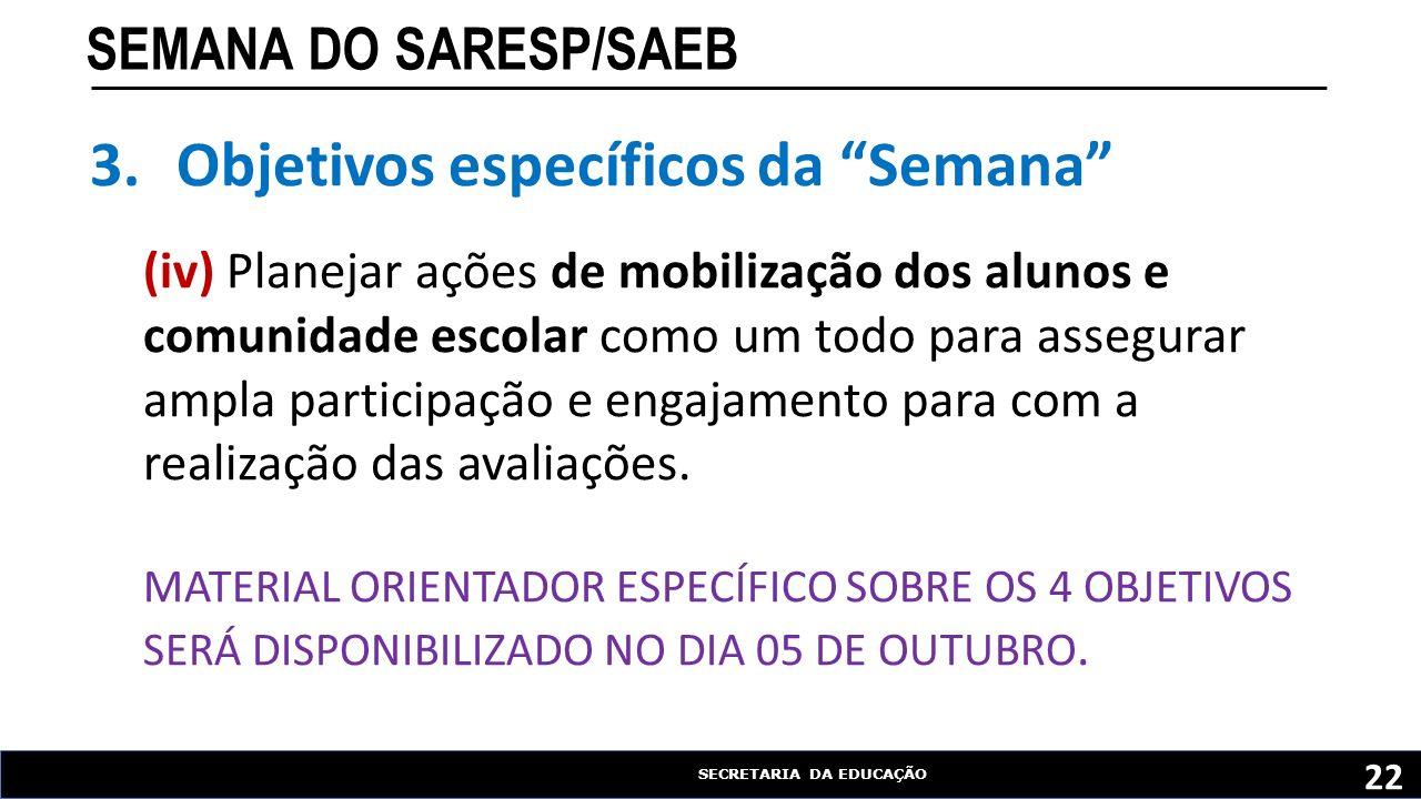"""SECRETARIA DA EDUCAÇÃO SEMANA DO SARESP/SAEB 22 3.Objetivos específicos da """"Semana"""" (iv) Planejar ações de mobilização dos alunos e comunidade escolar"""