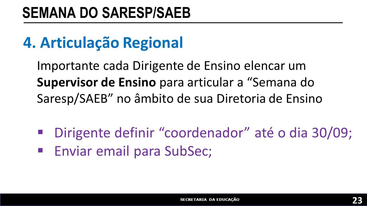 SECRETARIA DA EDUCAÇÃO SEMANA DO SARESP/SAEB 23 4. Articulação Regional Importante cada Dirigente de Ensino elencar um Supervisor de Ensino para artic
