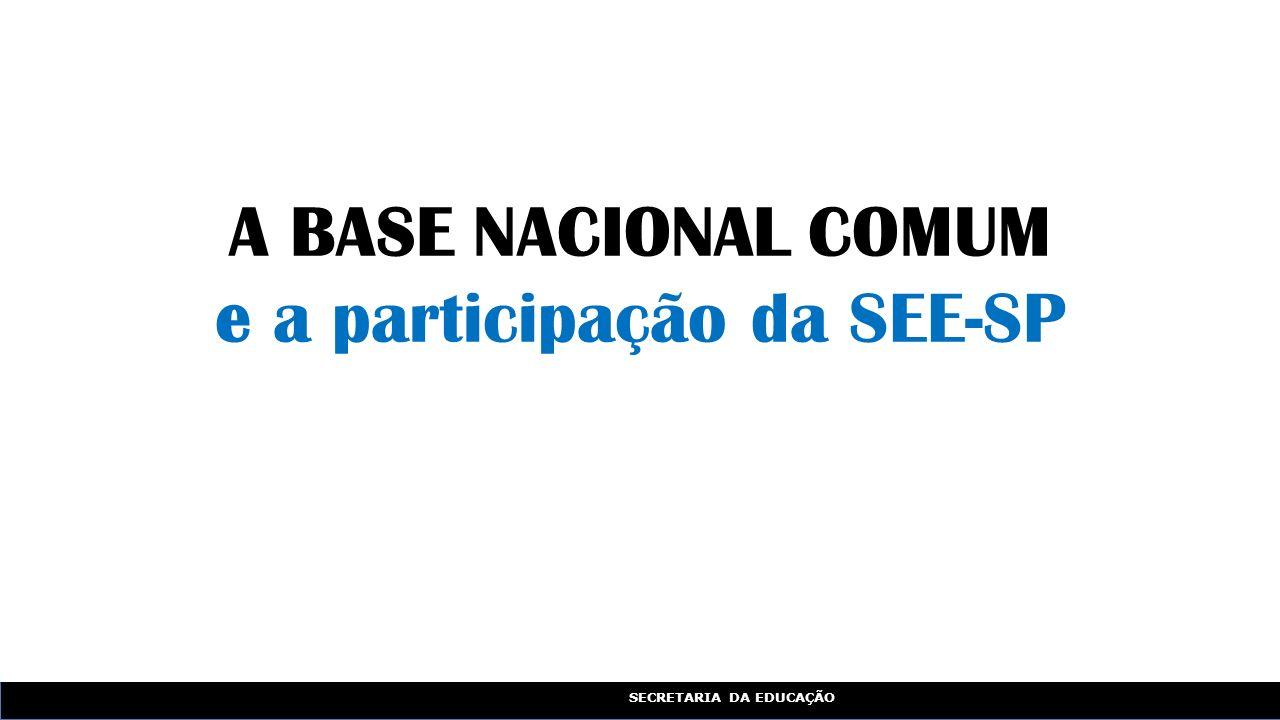 SECRETARIA DA EDUCAÇÃO A BASE NACIONAL COMUM e a participação da SEE-SP