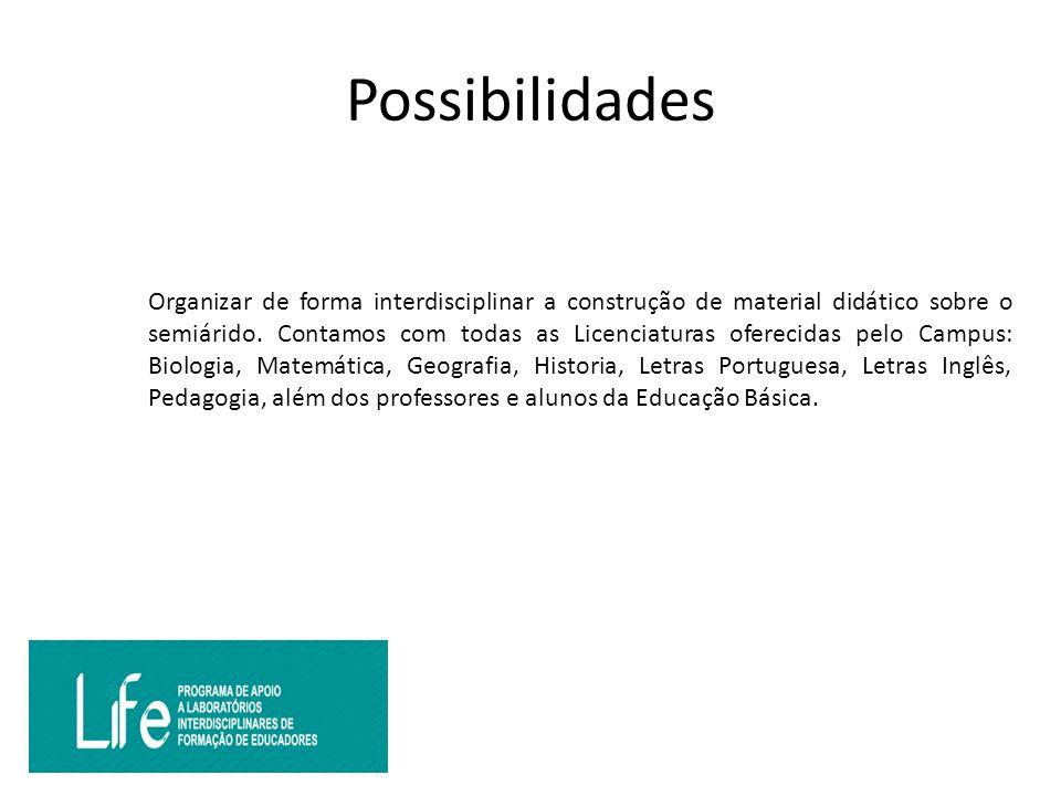 Possibilidades Organizar de forma interdisciplinar a construção de material didático sobre o semiárido.