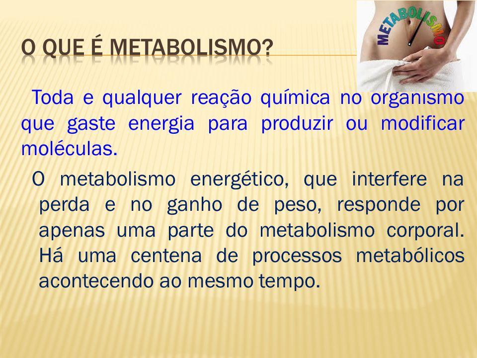 Toda e qualquer reação química no organismo que gaste energia para produzir ou modificar moléculas.