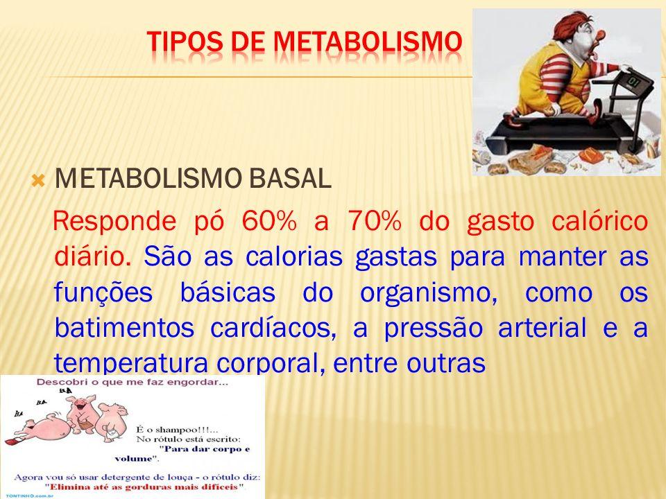  METABOLISMO BASAL Responde pó 60% a 70% do gasto calórico diário.