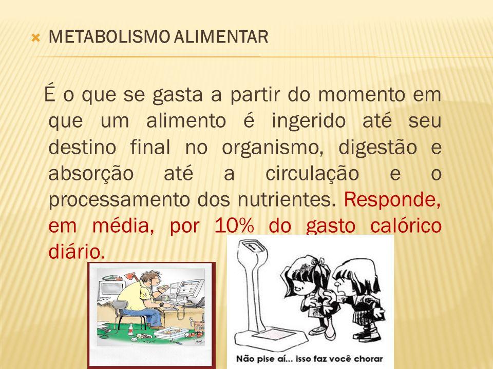  METABOLISMO ALIMENTAR É o que se gasta a partir do momento em que um alimento é ingerido até seu destino final no organismo, digestão e absorção até a circulação e o processamento dos nutrientes.