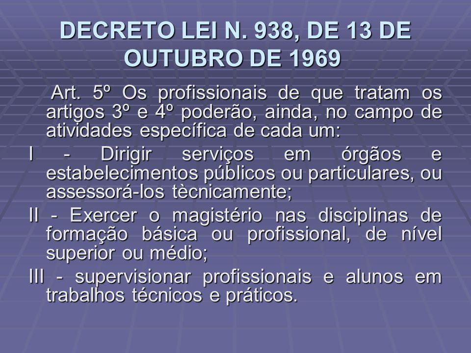 DECRETO LEI N. 938, DE 13 DE OUTUBRO DE 1969 DECRETO LEI N. 938, DE 13 DE OUTUBRO DE 1969 Art. 5º Os profissionais de que tratam os artigos 3º e 4º po