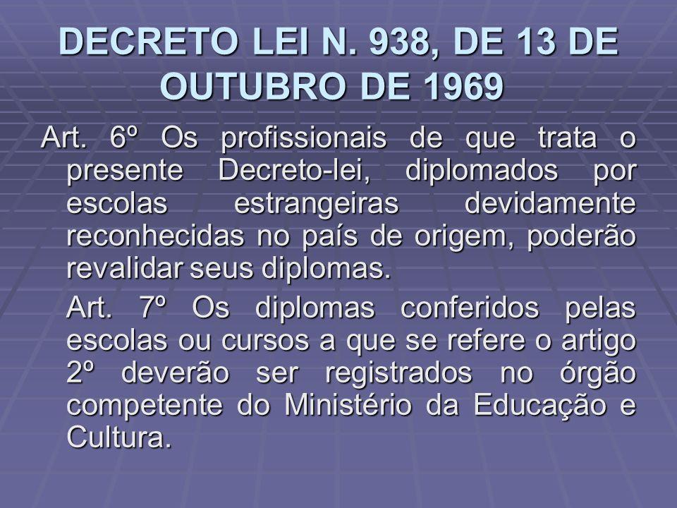 DECRETO LEI N. 938, DE 13 DE OUTUBRO DE 1969 DECRETO LEI N. 938, DE 13 DE OUTUBRO DE 1969 Art. 6º Os profissionais de que trata o presente Decreto-lei