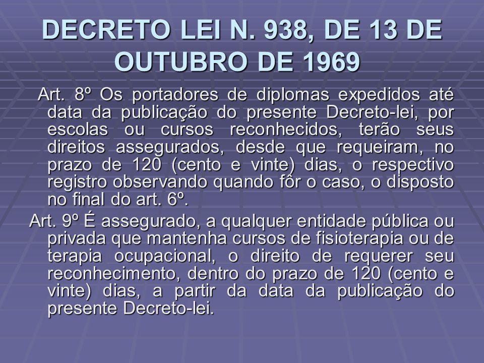DECRETO LEI N. 938, DE 13 DE OUTUBRO DE 1969 DECRETO LEI N. 938, DE 13 DE OUTUBRO DE 1969 Art. 8º Os portadores de diplomas expedidos até data da publ