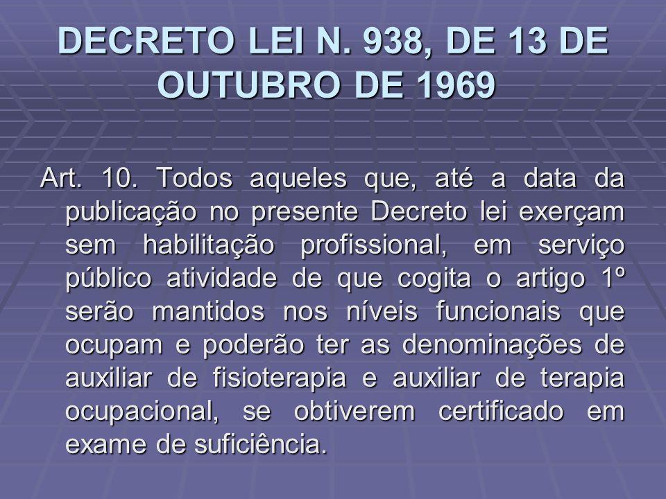 DECRETO LEI N. 938, DE 13 DE OUTUBRO DE 1969 DECRETO LEI N. 938, DE 13 DE OUTUBRO DE 1969 Art. 10. Todos aqueles que, até a data da publicação no pres