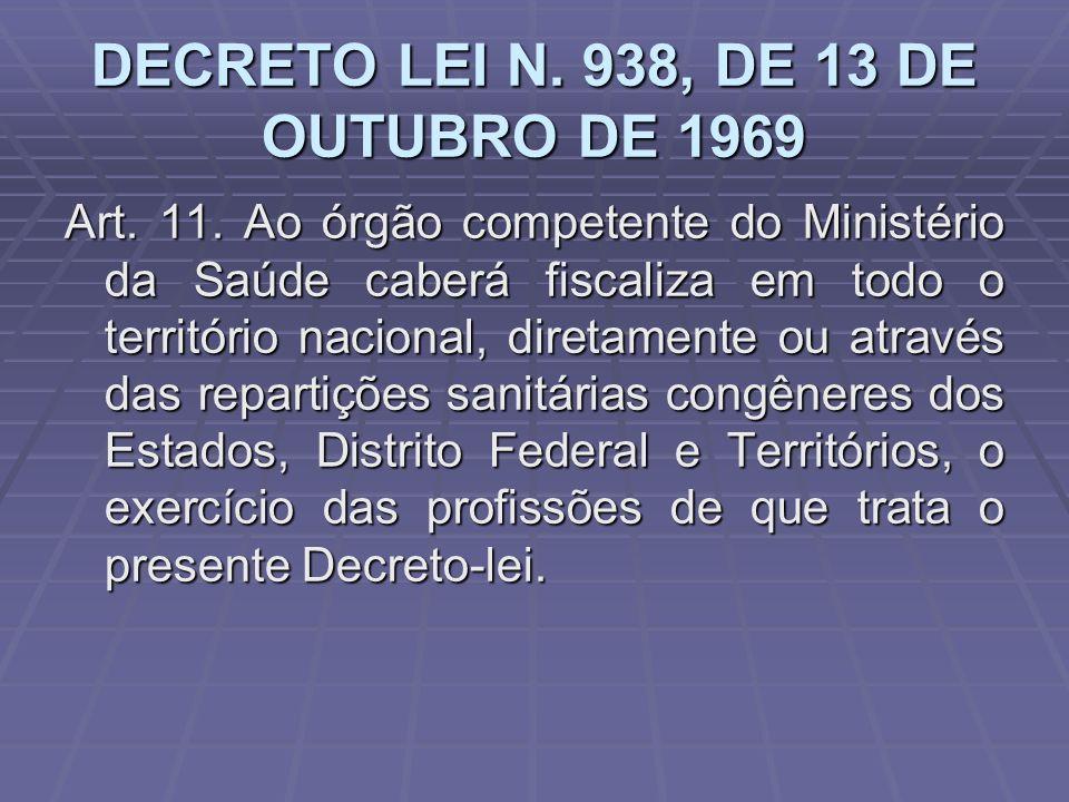 DECRETO LEI N. 938, DE 13 DE OUTUBRO DE 1969 Art. 11. Ao órgão competente do Ministério da Saúde caberá fiscaliza em todo o território nacional, diret