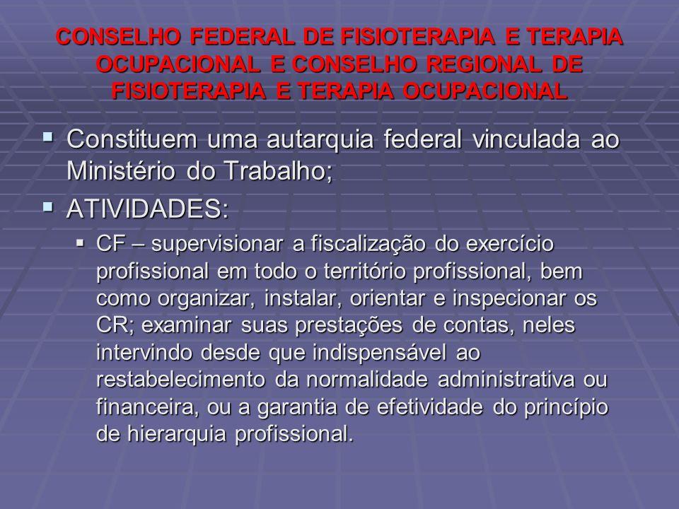 CONSELHO FEDERAL DE FISIOTERAPIA E TERAPIA OCUPACIONAL E CONSELHO REGIONAL DE FISIOTERAPIA E TERAPIA OCUPACIONAL  Constituem uma autarquia federal vi