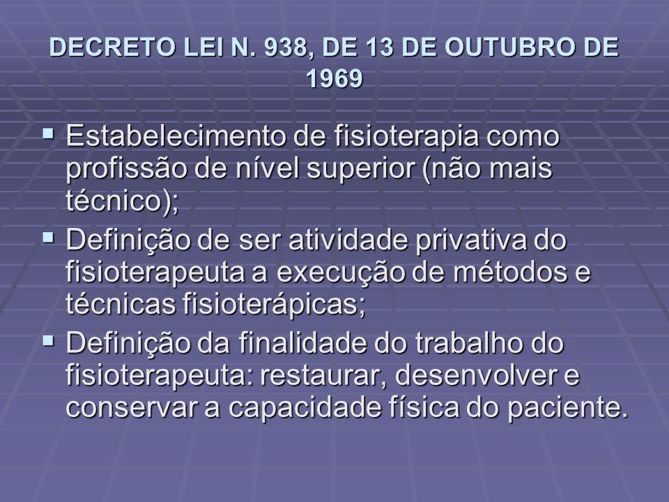 DECRETO LEI N. 938, DE 13 DE OUTUBRO DE 1969  Estabelecimento de fisioterapia como profissão de nível superior (não mais técnico);  Definição de ser