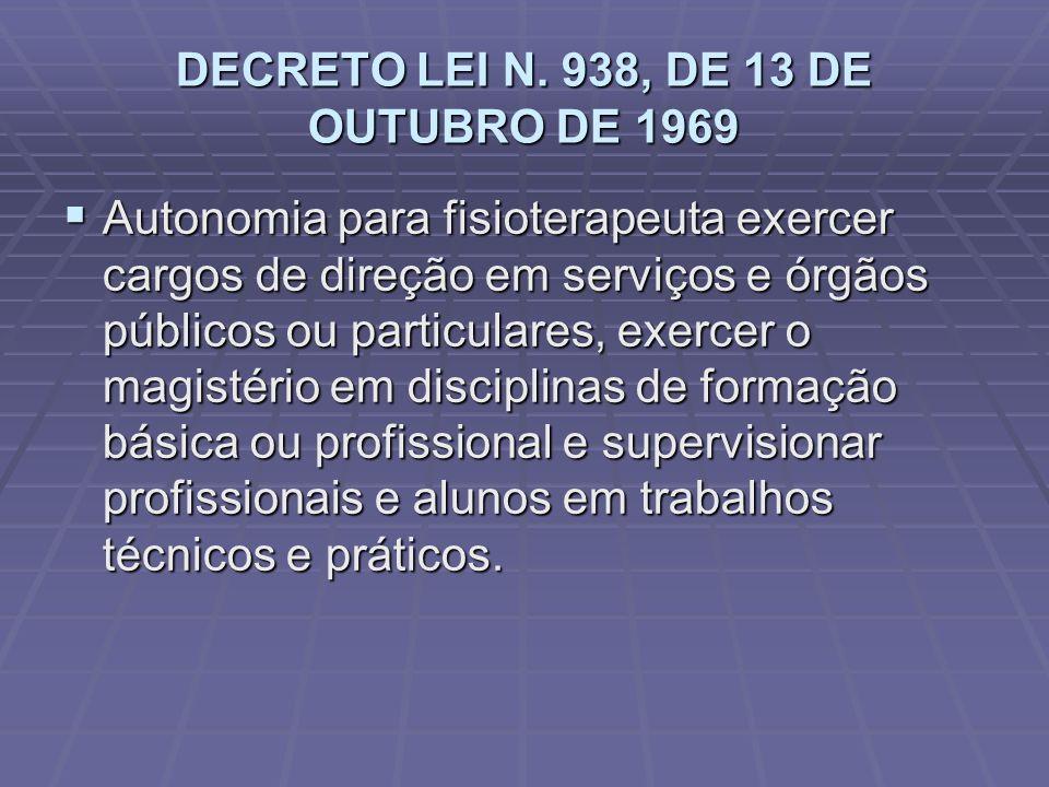 DECRETO LEI N. 938, DE 13 DE OUTUBRO DE 1969  Autonomia para fisioterapeuta exercer cargos de direção em serviços e órgãos públicos ou particulares,