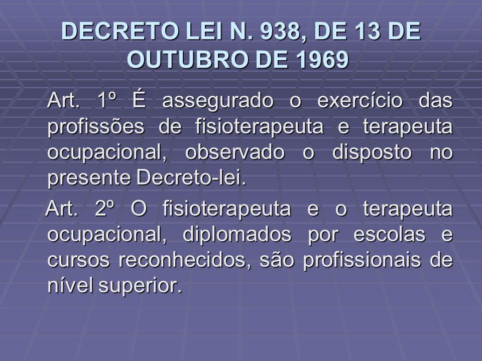 DECRETO LEI N. 938, DE 13 DE OUTUBRO DE 1969 DECRETO LEI N. 938, DE 13 DE OUTUBRO DE 1969 Art. 1º É assegurado o exercício das profissões de fisiotera