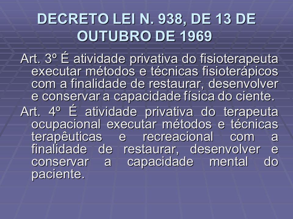 DECRETO LEI N. 938, DE 13 DE OUTUBRO DE 1969 DECRETO LEI N. 938, DE 13 DE OUTUBRO DE 1969 Art. 3º É atividade privativa do fisioterapeuta executar mét