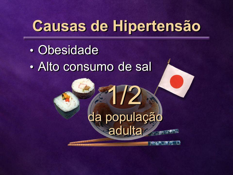 Obesidade Alto consumo de sal Causas de Hipertensão 1/2 da população adulta