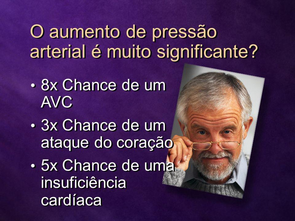 O aumento de pressão arterial é muito significante? 8x Chance de um AVC 3x Chance de um ataque do coração 5x Chance de uma insuficiência cardíaca 8x C