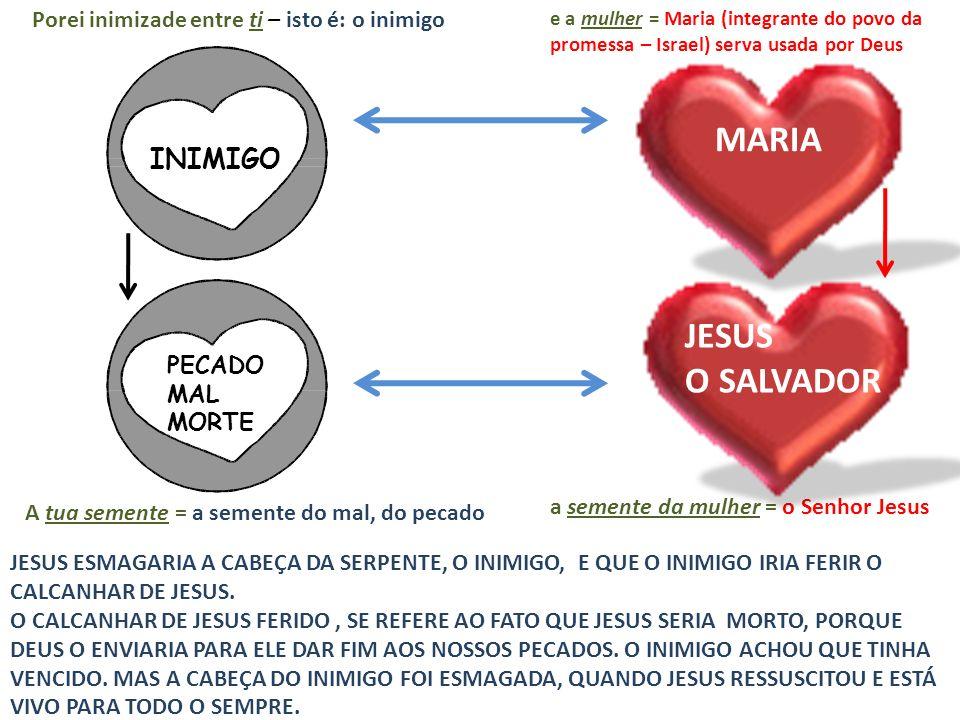 Porei inimizade entre ti – isto é: o inimigo INIMIGO MARIA e a mulher = Maria (integrante do povo da promessa – Israel) serva usada por Deus A tua sem