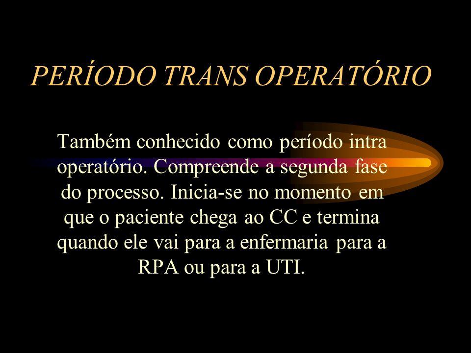 PERÍODO TRANS OPERATÓRIO Também conhecido como período intra operatório.