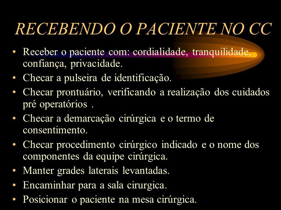 RECEBENDO O PACIENTE NO CC Receber o paciente com: cordialidade, tranquilidade, confiança, privacidade.