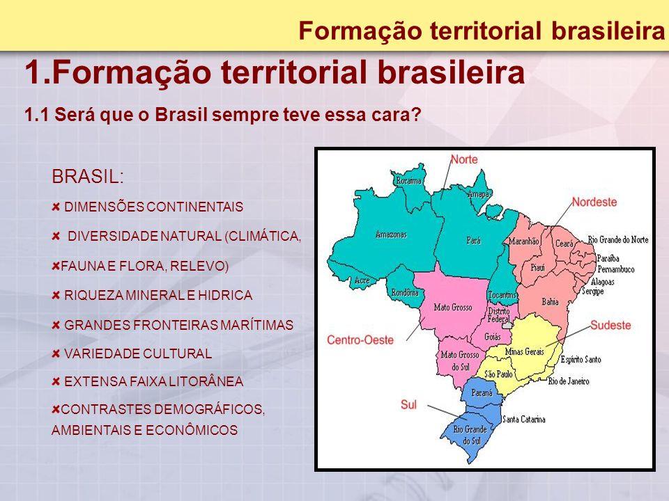 1.Formação territorial brasileira 1.1 Será que o Brasil sempre teve essa cara.