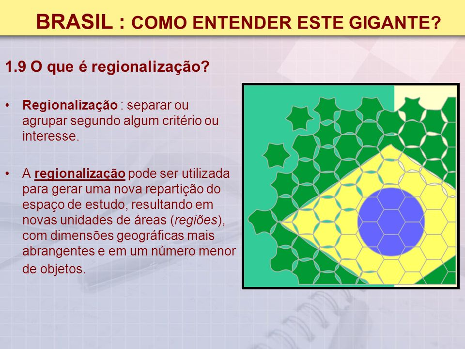 BRASIL : COMO ENTENDER ESTE GIGANTE.1.9 O que é regionalização.