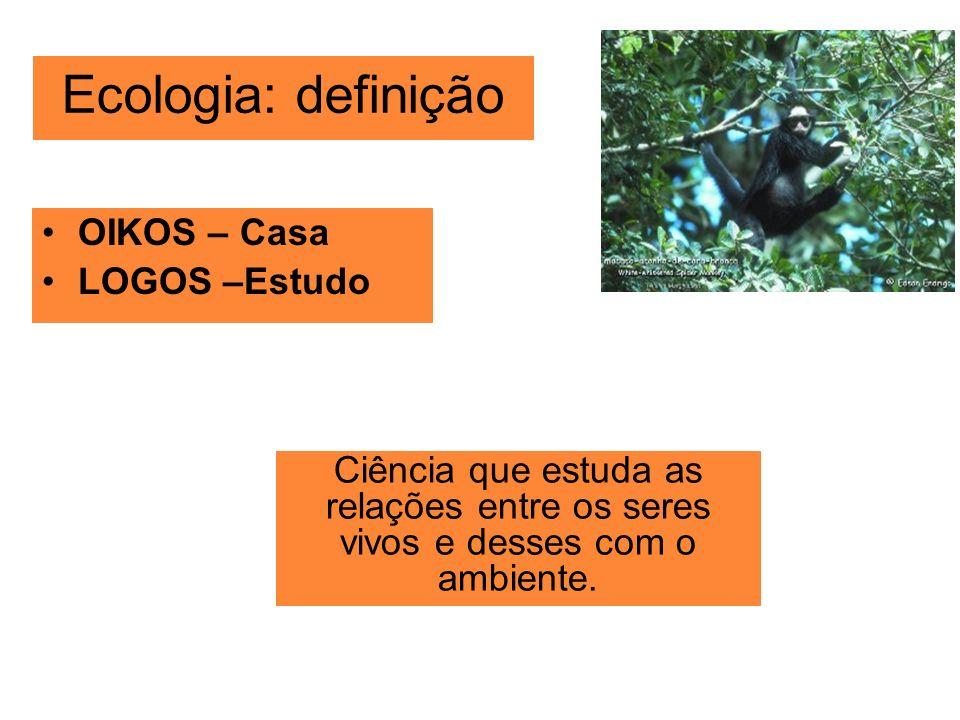 Ecologia: definição OIKOS – Casa LOGOS –Estudo Ciência que estuda as relações entre os seres vivos e desses com o ambiente.