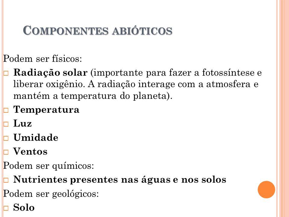 C OMPONENTES ABIÓTICOS Podem ser físicos:  Radiação solar (importante para fazer a fotossíntese e liberar oxigênio.