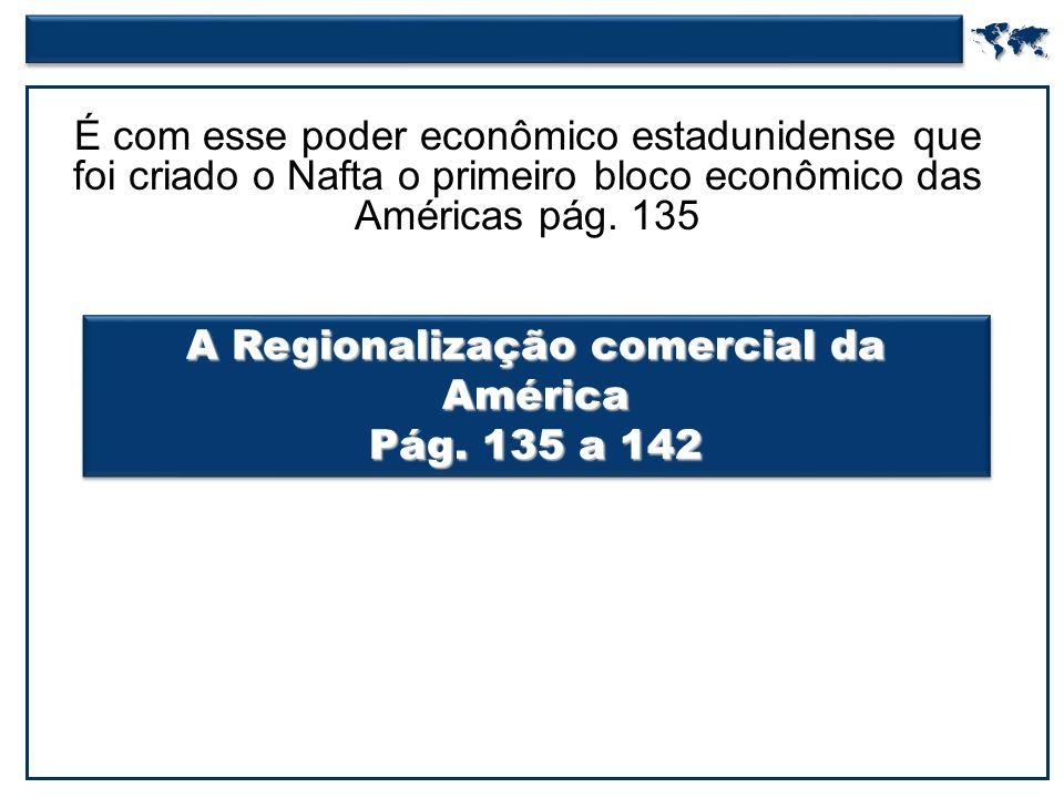  É com esse poder econômico estadunidense que foi criado o Nafta o primeiro bloco econômico das Américas pág.
