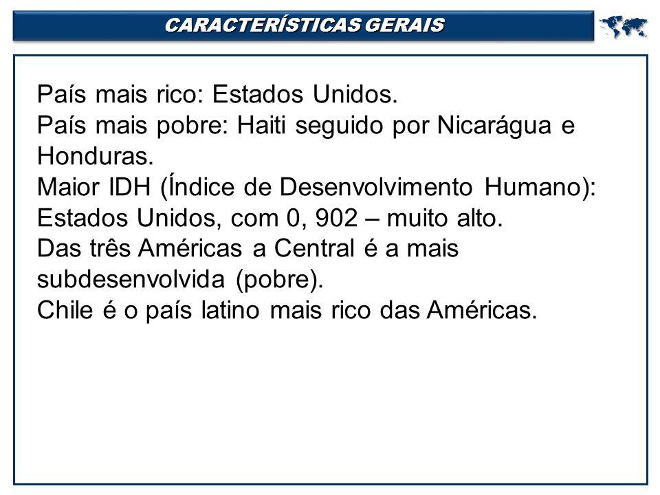 CARACTERÍSTICAS GERAIS  País mais rico: Estados Unidos.