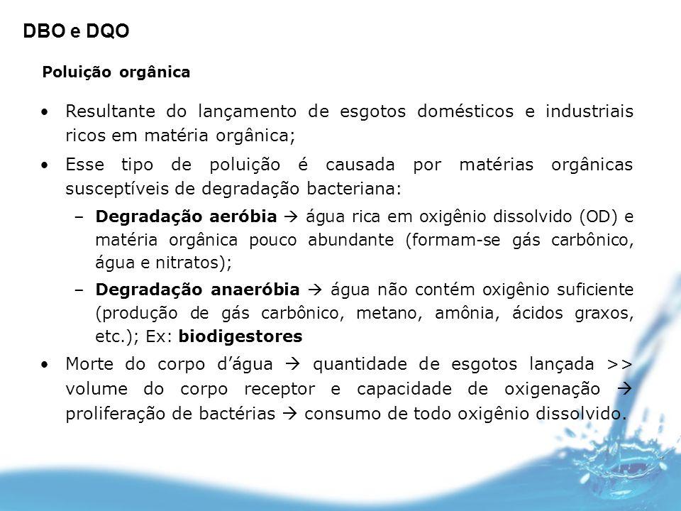 Poluição orgânica Resultante do lançamento de esgotos domésticos e industriais ricos em matéria orgânica; Esse tipo de poluição é causada por matérias