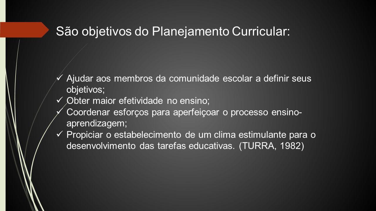 São objetivos do Planejamento Curricular: Ajudar aos membros da comunidade escolar a definir seus objetivos; Obter maior efetividade no ensino; Coorde