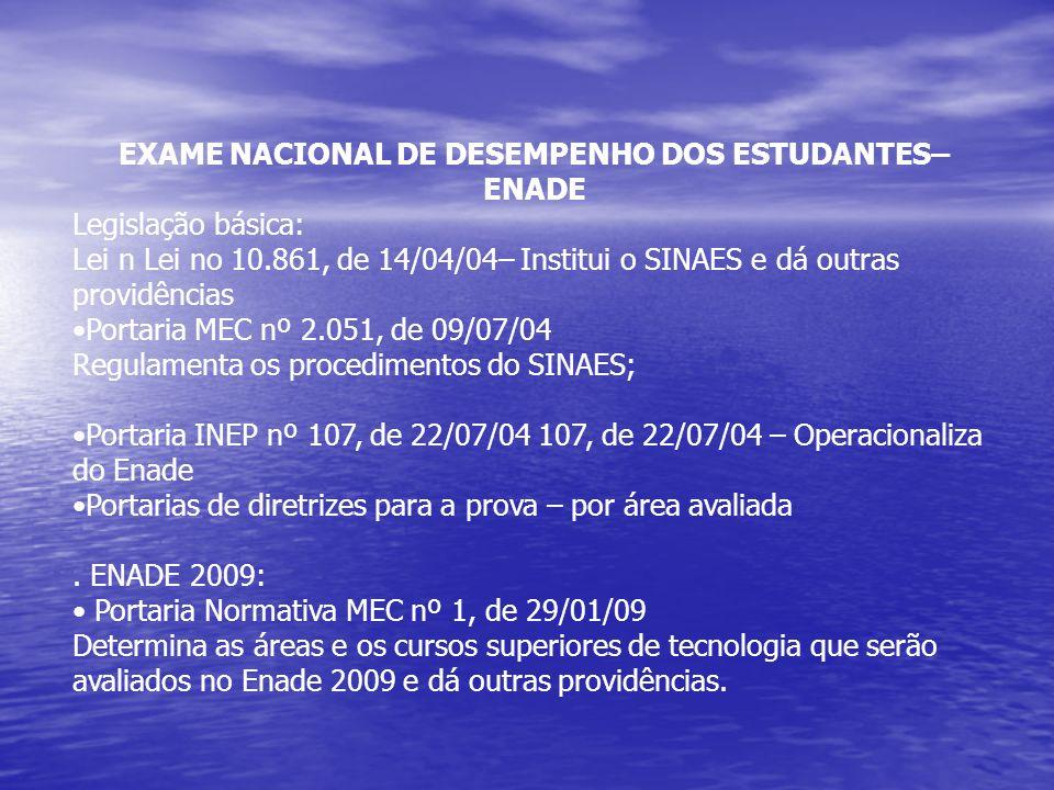 EXAME NACIONAL DE DESEMPENHO DOS ESTUDANTES– ENADE Legislação básica: Lei n Lei no 10.861, de 14/04/04– Institui o SINAES e dá outras providências Portaria MEC nº 2.051, de 09/07/04 Regulamenta os procedimentos do SINAES; Portaria INEP nº 107, de 22/07/04 107, de 22/07/04 – Operacionaliza do Enade Portarias de diretrizes para a prova – por área avaliada.