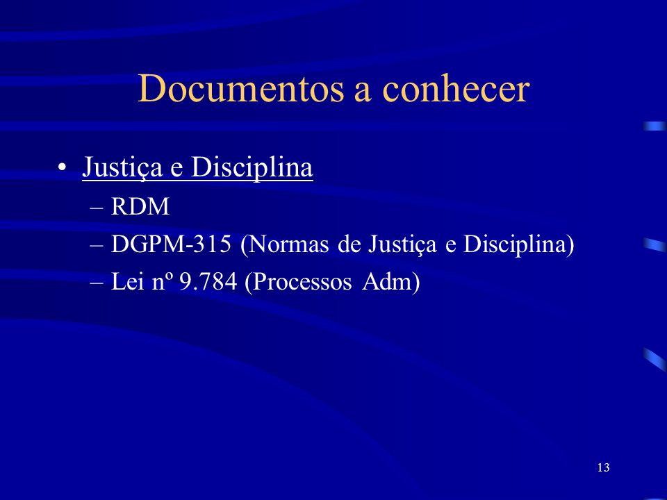 13 Documentos a conhecer Justiça e Disciplina –RDM –DGPM-315 (Normas de Justiça e Disciplina) –Lei nº 9.784 (Processos Adm)
