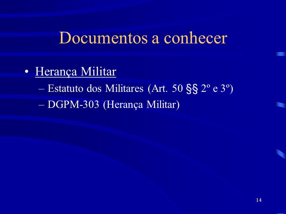 14 Documentos a conhecer Herança Militar –Estatuto dos Militares (Art.
