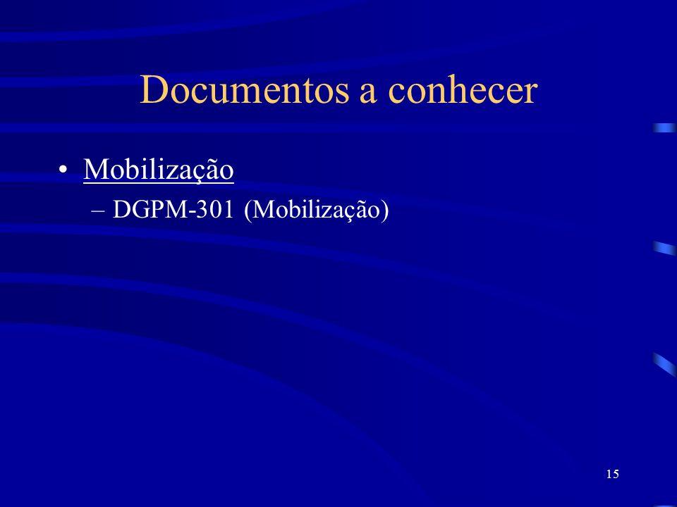 15 Documentos a conhecer Mobilização –DGPM-301 (Mobilização)