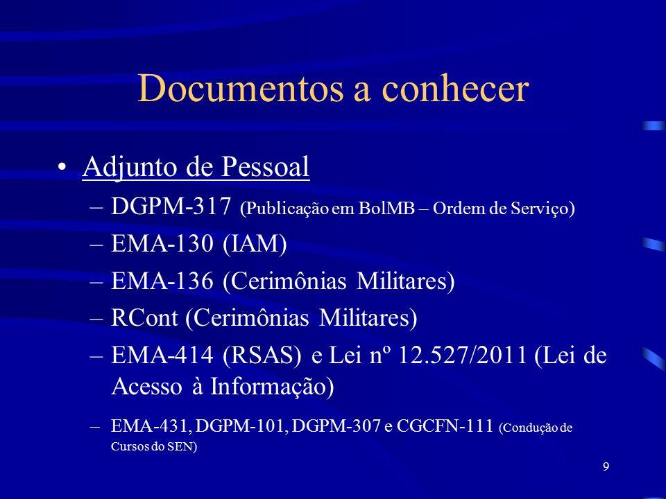 9 Documentos a conhecer Adjunto de Pessoal –DGPM-317 (Publicação em BolMB – Ordem de Serviço) –EMA-130 (IAM) –EMA-136 (Cerimônias Militares) –RCont (Cerimônias Militares) –EMA-414 (RSAS) e Lei nº 12.527/2011 (Lei de Acesso à Informação) –EMA-431, DGPM-101, DGPM-307 e CGCFN-111 (Condução de Cursos do SEN)