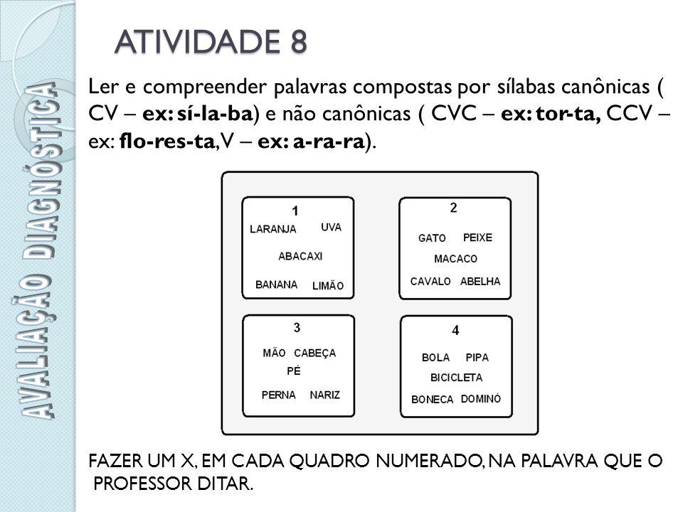 ATIVIDADE 8 Ler e compreender palavras compostas por sílabas canônicas ( CV – ex: sí-la-ba) e não canônicas ( CVC – ex: tor-ta, CCV – ex: flo-res-ta, V – ex: a-ra-ra).